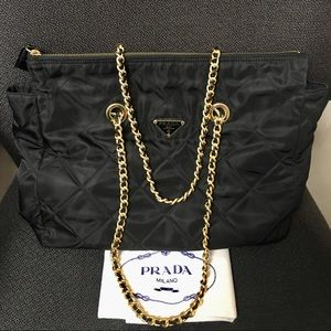 PRADA Tote in Nylon with Chain Shoulder Straps